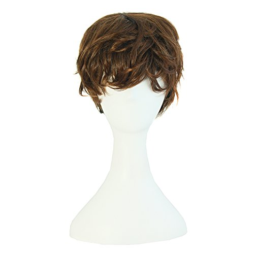 [MapofBeauty Fashion Girl Natural Short Curly Wigs-Brown-Ladies] (Short Curly Wig)