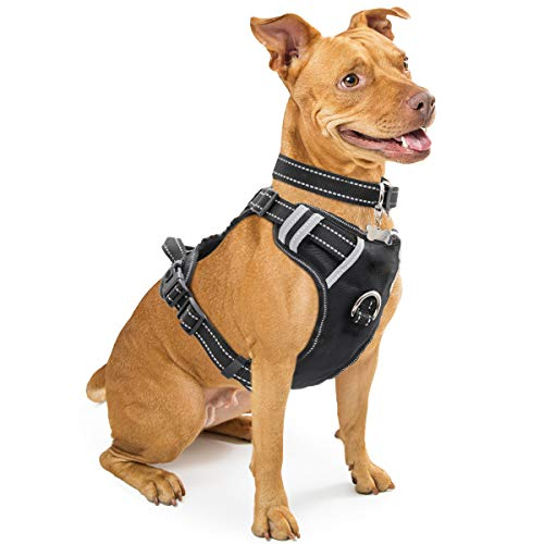 Control Harness Pet Comfort (WINSEE Dog Harness, No-Pull Walking Pet Vest Harness with Handle and Front/Back Leash Attachments, Reflective Adjustable Oxford Material Easy Control Harness Black for Medium Dog)
