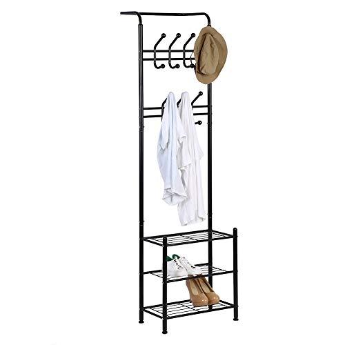 Hall Tree Coat Rack with Hooks, Industrial Entryway Hat Hanger Display Stand Free Standing Garment Storage Shelf 3 Tier Shoe Bench Metal Frame for Living Room Hallway Bedroom