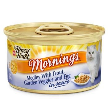 Fancy Feast Mornings Medley with Trout, Garden Veggies & Egg in Sauce Gourmet Cat Food, Case of 24