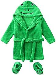 KASSD Infant Boys Girls Cartoon Duck Frog Print Flannel Bathrobes, Hoodie Sleepwear+Footwear Outfits, 0-12 Mon