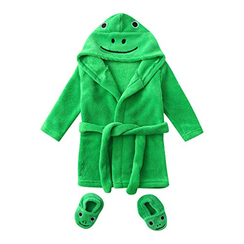 LIKESIDE Cute Kids Infant Boys Girls Frog/Duck Cartoon Flannel Bathrobes Hoodie Sleepwear+Footwear Outfits ()