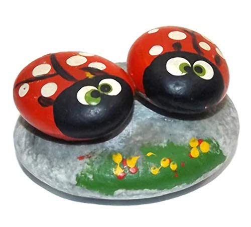 (Vintage Hand-Painted Pet Rock Ladybug Folk Art Paperweight )