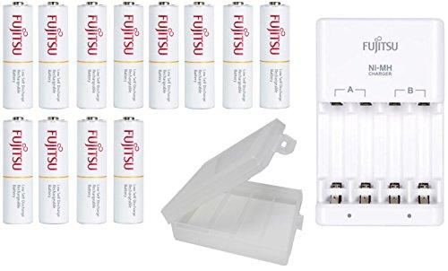 Fujitsu NiMH AA/AAA Battery Charger, with 12 AA 2000mAh Fujitsu Rechargeable Batteries, with Battery Holders ()