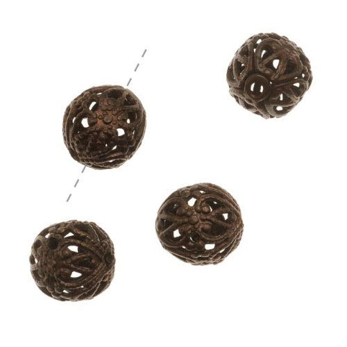 Vintaj Natural Brass Ornate 7mm Round Filigree Beads Wrap Versatile (4) (Brass Filigree Wrap)