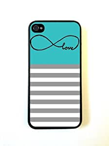 Infinity Love Teal and Grey Stripes Black iphone 5s Case - For iphone 5s- Designer TPU Case Verizon AT&T Sprint