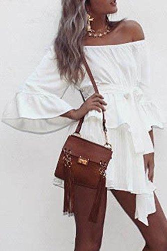 Mujer Off Shoulder T - Shirt Verano Gasa Tops White