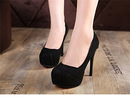Womens Heels Sexy chaussures poils Stiletto à Nightclub 1 rondes High Party Noir Pompes Xianshu Pompes wIdqC5I