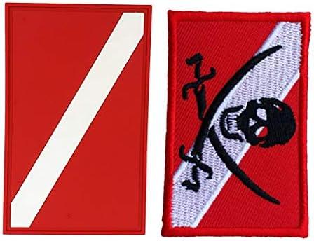 2ピース PVCパッチ スキューバ ダイビング ダイバー 旗 バックパック ギアバッグ パッチバッジ