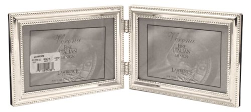 Lawrence Frames Hinged Double (Horizontal) Metal Picture Frame Silver-Plate with Delicate Beading, 4 by ()