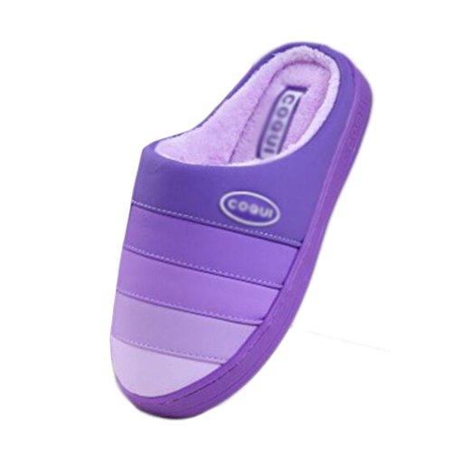 Com Antiderrapante De Algodão purple Solado Quentes Família Dentro De Pu Chinelos Chinelos Inverno Grossa Chinelos De Terra mulas Fw7Hv0qv
