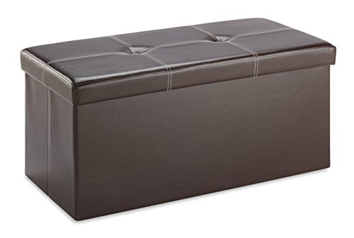 Whitmor Faux Leather Collapsible Storage Bench - Brown
