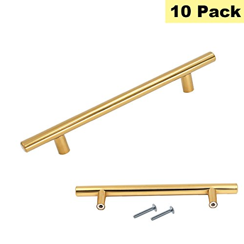 Kitchen Gold Drawer Pulls 5inch Hole Centers 10Pack - Peaha PH201PB128 Polished Brass Cabinet Hardware Drawer Handles Stainless Steel 7-1/2inch Overall Length (Polished Cabinet Brass)