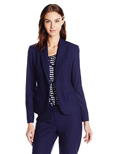 Anne Klein Womens Blazer Jacket (Anne Klein Women's One Button Jacket, Navy, 2)