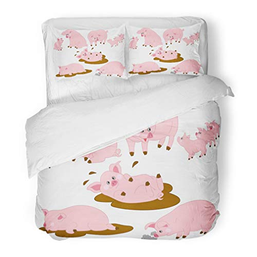 Emvency Bedding Duvet Cover Set King Size (1 Duvet Cover + 2 Pillowcase) Pink Baby Cartoon Funny Cute Pigs Clipart Agriculture Animal Boar Character Cheerful Hotel Quality Wrinkle and Stain Resistant for $<!--$109.90-->