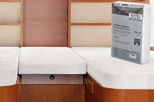 41lMtO ZmeL Brandsseller - 3-teiligs Spannbettlaken Set für Wohnwagen und Wohnmobil Heckbett Spannbetttuch 180 g/m² 2X 70x190 cm…