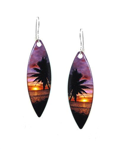 opical Sunset Print Slender Earrings (Sunset Tropical Print)