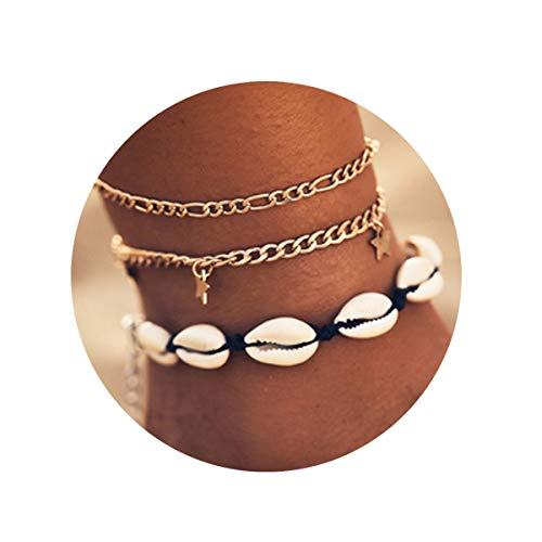 FINETOO Shell Beach Charm Anklet Handmade Rope Chain Adjustable Anklet Foot Jewelry Gifts for ()