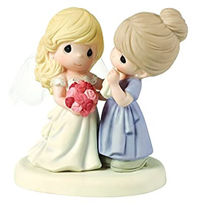 "Precious Moments 153009 Wedding Gifts, ""My Daughter, My Pride, A Beautiful Bride"" Bisque Porcelain Figurine, Mother and Daughter"