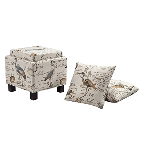 Madison Park Shelley Storage Ottoman with Reversible Tray Solid Wood, Polyester Fabric Toy Chest Organizer Modern Style Footsool With Matching Pillow, See below, Ivory Vintage (Ottoman Tray Lid With)