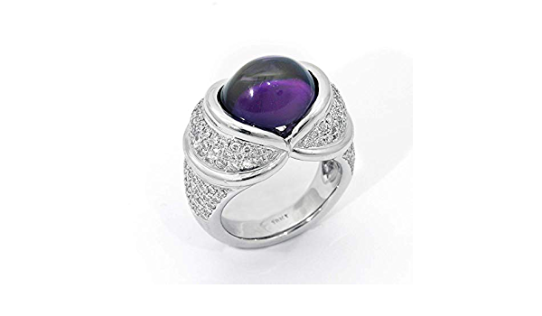 ID:R4834 Women 18K White Gold GF\u00a0Fashion Jewelry Pretty Handmade Big Amethyst Gemstone Ring\u00a0Perfect Anniversary Gift for Her