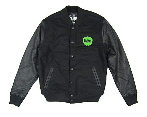 Beatles Green Apple Logo Embroidered Black Varsity Jacket 2015 (XL) (John Lennon Military Jacket)
