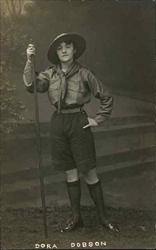 Studio portrait of a Girl Guide in uniform - Dora Dobson Girl Scouts Original Vintage Postcard