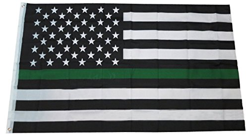 Thin Green Line USA Flag for Army Military Sheriffs Law Enforcement Federal Agents Border Patrol Park Rangers Game Wardens Wildlife Conservation Environment 3x5 FT OD Green (Military Border)