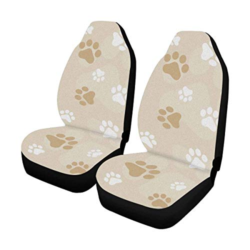 INTERESTPRINT Dog Paw Prints Car Seat Cover Front Seats Only Full Set of 2, Bucket Seat Protector Car Seat Cushions for Car, SUV, Truck or - Seat Print Car