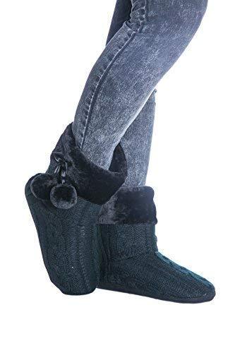 Tejido Fairee Airee Mujer Punto Estar Y Bordes De Pompons Por Pantuflas Del Con Zapatillas Negro Casa gU1wxzqT