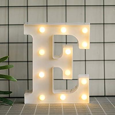 DON LETRA Letras Luminosas Decorativas con Luces LED, Letras del Alfabeto A-Z, Altura de 22cm, Color Blanco - Letra E: Amazon.es: Hogar