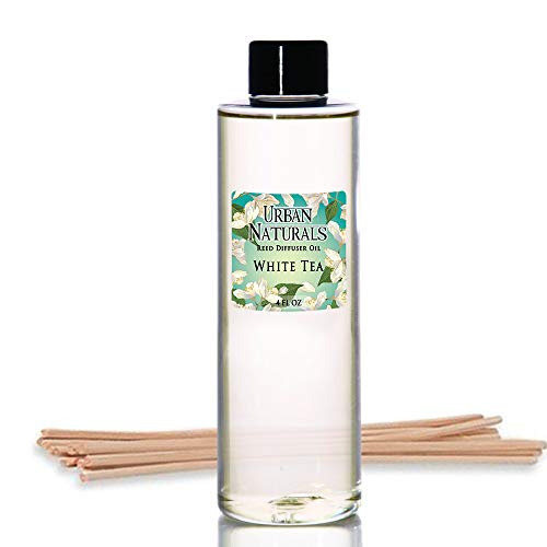 White Tea Perfume Oil - Urban Naturals White Tea Scented Oil Reed Diffuser Refill | Includes a Free Set of Reed Sticks! 4 oz.