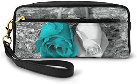 長財布 ポーチ ブラックホワイトティールローズ花 レザーバッグ 化粧バッグ おしゃれ かわいい 小型バッグ ペンケース クラッチポーチ メイクポーチ