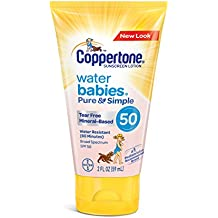 Coppertone WaterBabies Pure & Simple Tear Free Mineral Based Sunscreen Lotion Broad Spectrum SPF 50 (2-Fluid-Ounce, Travel Size)
