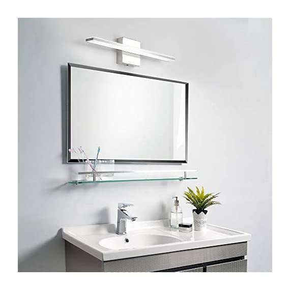 """Bathroom Vanity Light, BRIVOLART 19 Inch 12W LED Bathroom Vanity Lighting Fixtures Cool White Light 6000K - ✅[NEW DESIGN] Modern bathroom led vanity light. Ideal for using as lighting in bathrooms, bedrooms, over hospital beds, hallways, corridors, study rooms, stairways, workplaces, restaurants, hotel receptions. ✅[SPECIFICATIONS] Length :19.68"""" for 12W, distance from the wall: 3.22"""". Color temperature:6000K, Non-dimmable. ✅ [BEETER LIGHTING]: HIGH transmittance with acrylic cover, gives you perfect spotlight when you makeup, shave, read or display products. Stainless steel body with acrylic plating surface is durable, safe and easy to clean. - bathroom-lights, bathroom-fixtures-hardware, bathroom - 41lMvWrNvlL. SS570  -"""