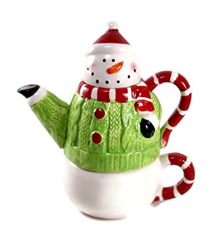 Holiday Snowman Tea-For-One Set - Stacking Teapot with Cup