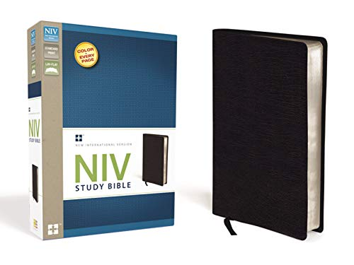 NIV Study Bible, Bonded Leather, Black, Red ()