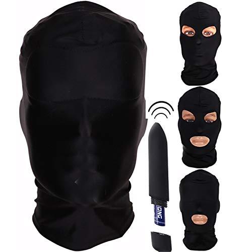 Fetish Mask Hood Sexy Lingerie Vibrator Toys Open Mouth Eye Bondage Mask Cosplay Slave Punish Headgear Mask Adult Sex Products E -