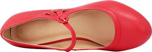 Select Heel Mid Round Women's Toe Red Cambridge Pump Mary Jane Dress AnBxA
