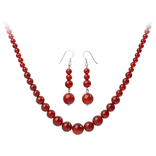 YACQ 925 Sterling Silver Carnelian Gemstone Necklace Earrings Sets Handcrafted Jewelry for Women (20, Carnelian)