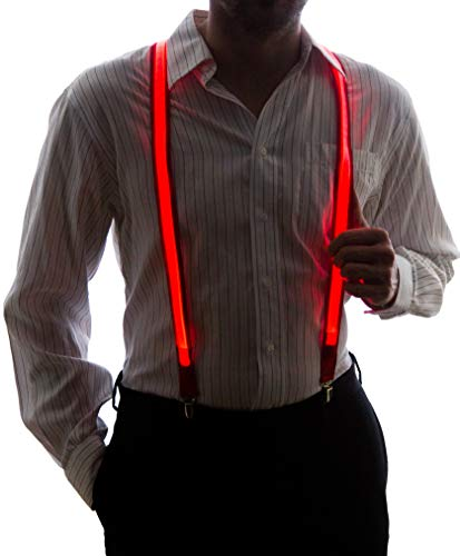 Neon Nightlife Men's Light Up LED Suspenders, One Size, Red -