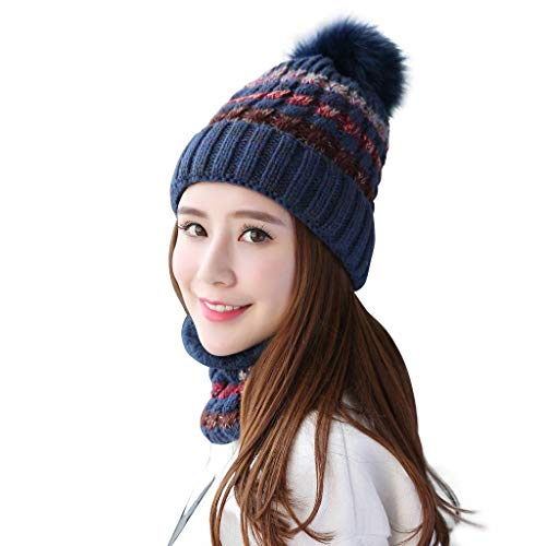 (Home Prefer Womens Girls Winter Knit Hat and Scarf Set Warm Beanie Hat Cold Weather Snow Ski Cap Navy Blue)