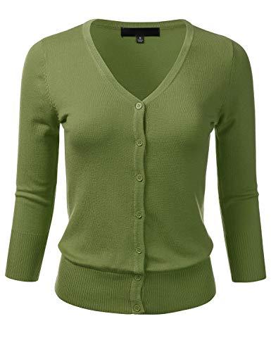 Women's Button Down 3/4 Sleeve V-Neck Stretch Knit Cardigan Sweater SAGE 3X ()