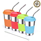 Stainless Steel Drinking Cups 16oz Tumblers Water Glasses with Silicone Lids and Metal Bent Straws for Kids or Adults Apply to Dinning, Outdoor, Cars