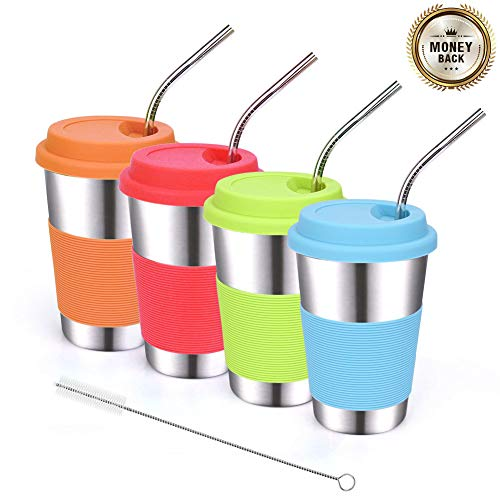 ShineMe Stainless Steel Drinking Cups 16oz with Silicone Lids and Metal Bent Straws for Kids or Adults Apply to Dinning, Outdoor, Cars