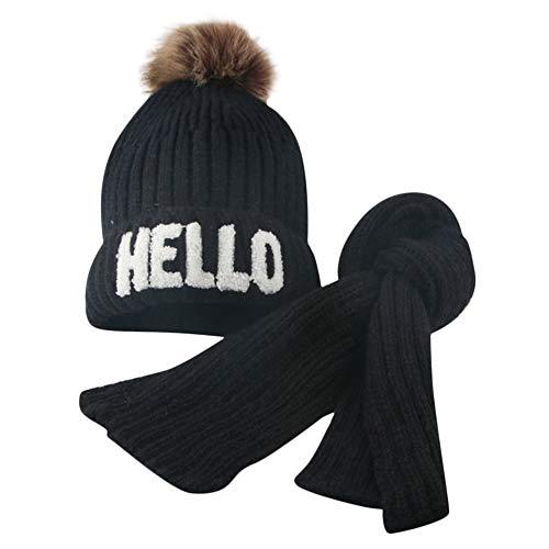 - Little Kids Christmas Warm Hat,Jchen(TM) Toddler Girl&Boy Baby Infant Winter Striped Crochet Knit Hat Beanie Hairball Cap + Scarf Keep Warm Sets for 2-8 Y (Black)