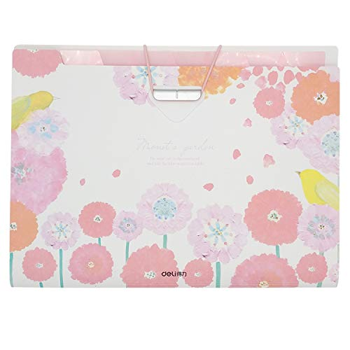 8 Pockets Expanding File Folders with 2 Pack Labels- Fit Letter Size and A4- Pink Floral and Bird Print- Portable Accordion Organizer for School Work, Office Document and Greeting Cards - Bird File Folders