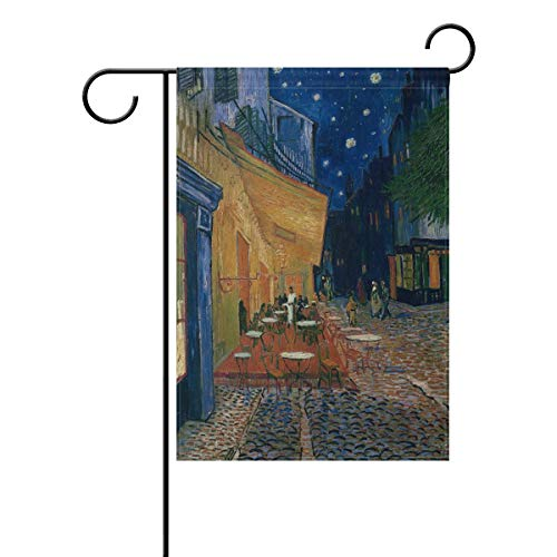 - EnmindonglJHO Van Gogh Painting Cafe Terrace in Arles at Night Garden Flag Banner 12 x 18 Inch Decorative Garden Flag for Outdoor Lawn and Garden Home