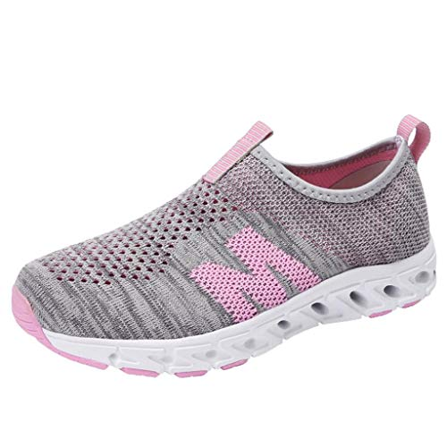 UOKNICE Women Outdoor Casual Breathable Mesh Comfortable Student Gym Running Shoes Sneakers(Gray, CN 40(US 7.5))