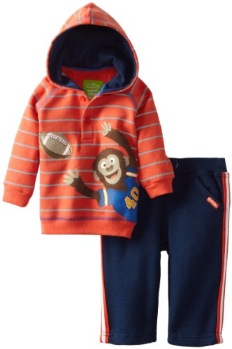 - Watch Me Grow! by Sesame Street Baby-boys Newborn 2 Piece Monkey Catching Football Shirthood and Pant, Red Clay, 3-6 Months